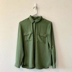 LOFT Long Sleeve Green Button Up Medium Petite